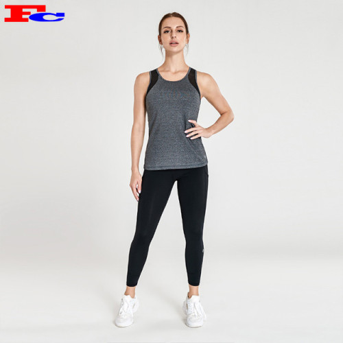 Wholesale Yoga Apparel -Grey Tank Top With Black Yoga Pants
