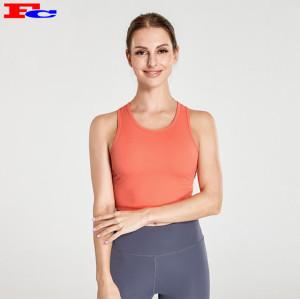 Soutien-gorge de sport orange vif et leggings gris foncé Vêtements de sport en gros