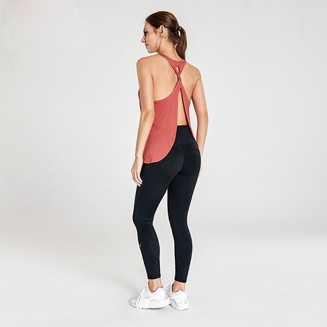Brick Red Open Cross Back Top And Black Leggings Fitness Clothing Manufacturers