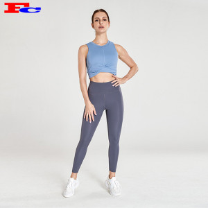 Wholesale Gym Clothes Blue Strapless Sports Bra And Blue-Gray Leggings