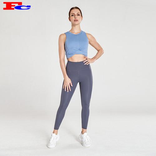 Vente en gros Vêtements de sport Soutien-gorge de sport sans bretelles bleu et leggings bleu-gris