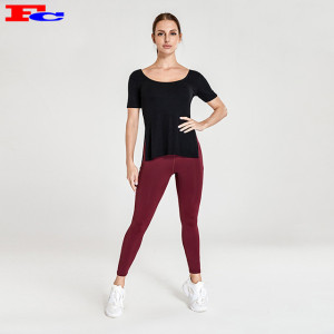 Wholesale Active Wear-Black T And Red Leggings