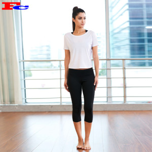 White T And Black Cropped Leggings Activewear Wholesale Distributors