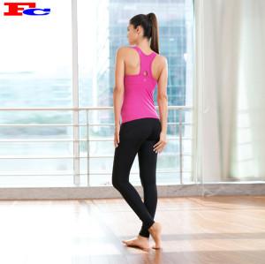 Débardeur rose rouge et leggings noirs Vêtements d'entraînement de marque privée