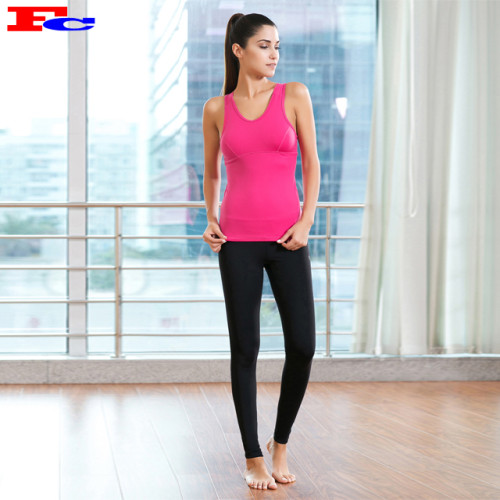 Rose Red Tank Top And Black Leggings Private Label Workout Clothing