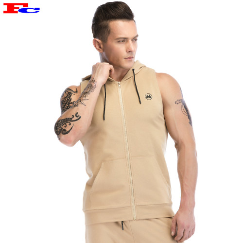 High Quality Zip Up Muscle Sleeveless Mens Best Wholesale Hoodies
