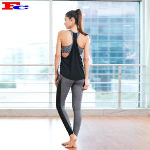 Vêtements d'entraînement en gros - Débardeur dos nu noir et collants gris