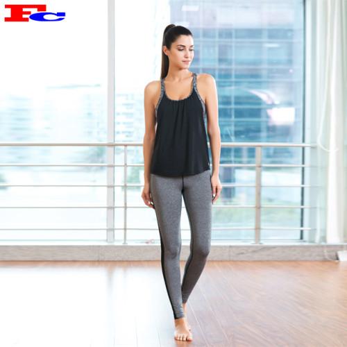 Großhandel Workout-Kleidung - Schwarzes rückenfreies Tanktop und graue Strumpfhose