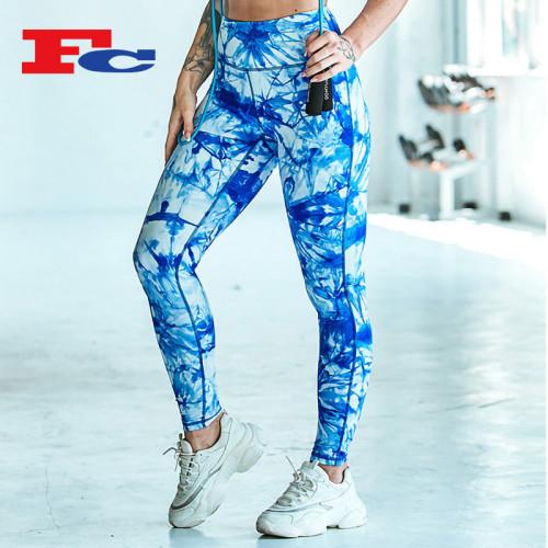 Tie-Dye wunderschöne blaue und weiße Blumen Leggings für Frauen Großhandel