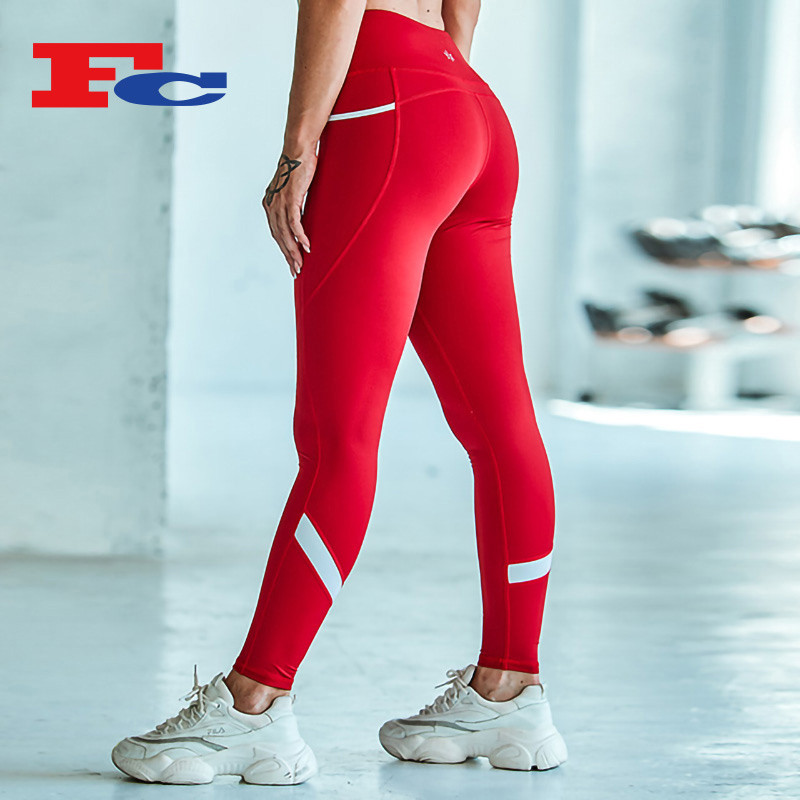 Red And White Cleverly Spliced Private Label Leggings Wholesale