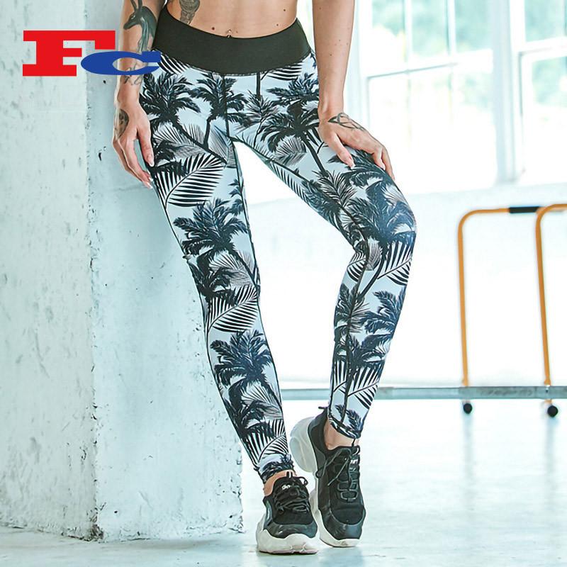 Pantalons de palmier imprimés à la mode Leggings imprimés en gros