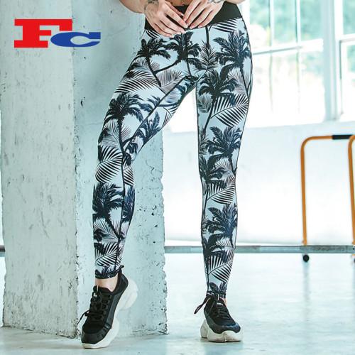 Pantalon de palmier imprimé à la mode Leggings imprimés en gros