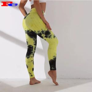 Nouveau style élégant Leggings souples opaques Tie Dye Pantalons de yoga pour femmes en gros