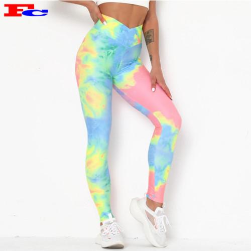Customizable Yoga Pants Hot Sale Printing Slim Leggings Tie Dye Yoga Pants