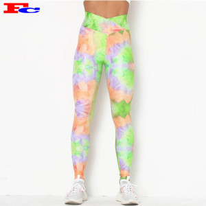 New Fashion High Waist  Yoga Pants  Tie - Dye Quality Leggings Wholesale