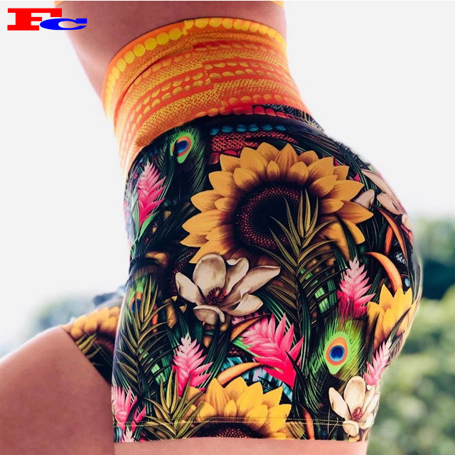 Sunflowers Print Ladies Custom Gym Shorts Manufacturer