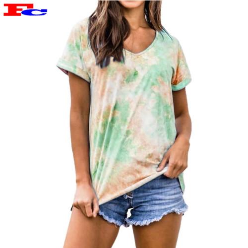 2020 Summer New Gradient Color Tie-Dye Short Sleeve Fashion Gear T Shirts Wholesale