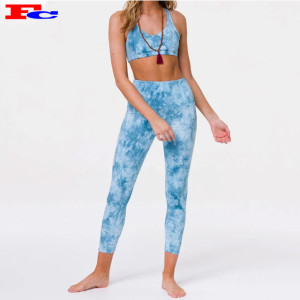 Fitness Clothing Private Label  High Waist Tie Dye 2 Piece Ladies Fitness Clothes