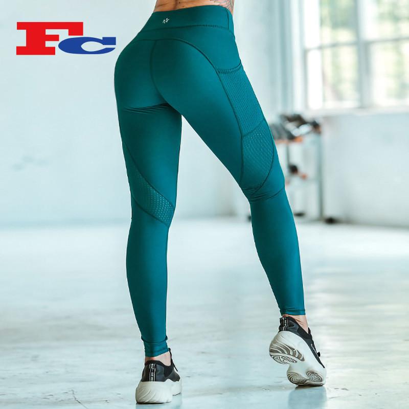 Wholesale High Waist Leggings With Dark Green Side Mesh Pocket