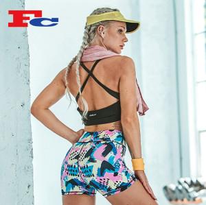 Soutien-gorge de sport noir à bretelles et shorts imprimés par graffitis Vêtements de sport pour femmes