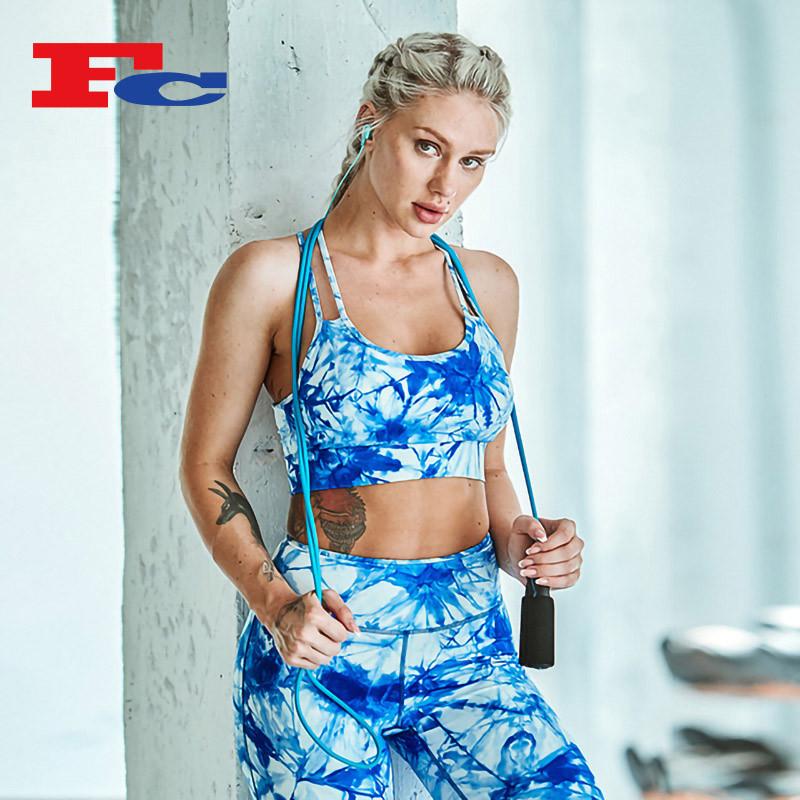 Blue And White Gorgeous Tie-Dye Print Trendy Sports Bras