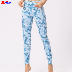 Trendy Latest  Custom Design Yoga Pants Tie Dye Printed for Women