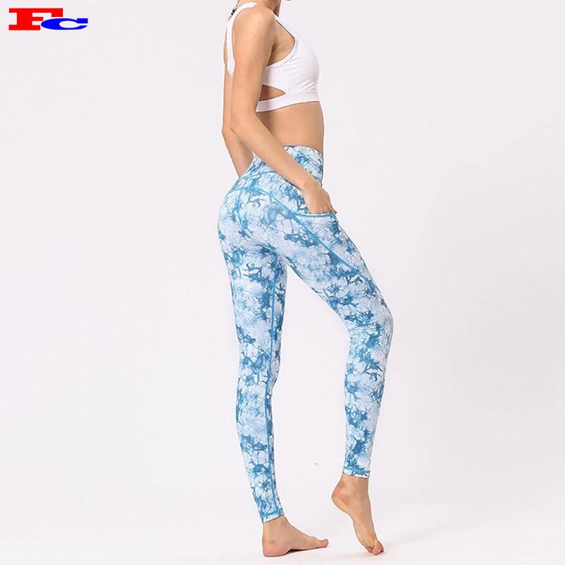 Trendy Latest  Custom Design Yoga Pants Tie Dye Printed for Women
