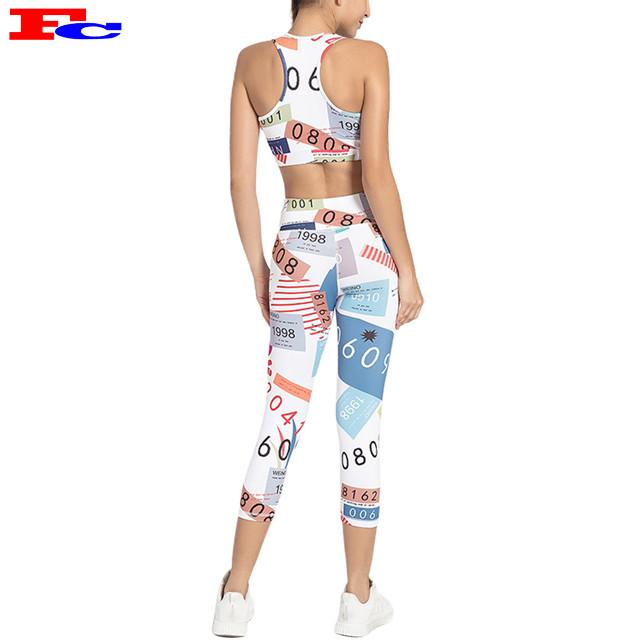 Vêtements de compression imprimés respirants en deux pièces pour femmes