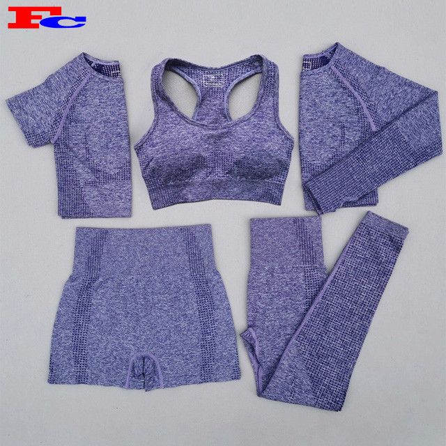Großhandel Damen Stretchy Seamless 5 Stück Fitness Set Workout Modetrends