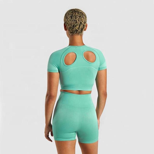 New Trendy Frauen Nahtlose Fitness Tank Top Workout Shorts Sportbekleidung Großhandel