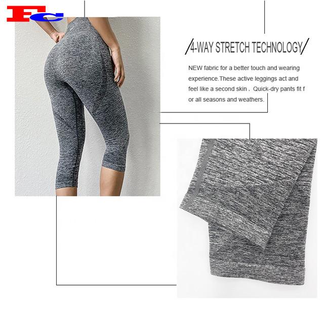 Leggings de remise en forme de marque privée femmes 3/4 longueur sans couture fournisseur de pantalons de yoga Capri