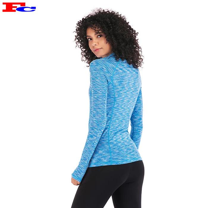 Fengcai Custom Dry Fit Space Dye Half Zip Gym Jacket Athletic Clothing Wholesale