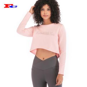 Frauen rosa Langarmhemden Private Label Kleidung Großhandel