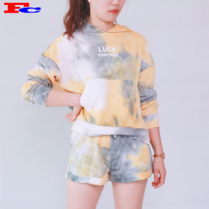 Womens Cotton Pullover Sweatshirt Krawatte - Dye Crop Top Hoodie und Shorts Gym Clothing Companies