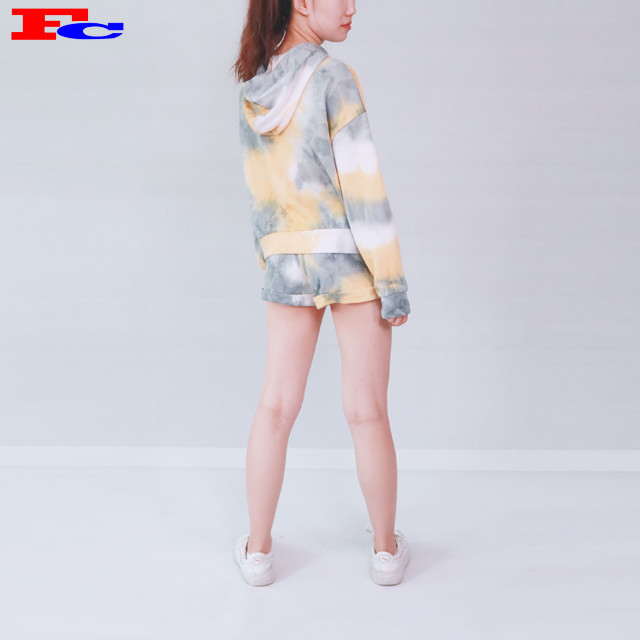 Womens Cotton Pullover Sweatshirt Tie—Dye Crop Top Hoodie And Shorts Gym Clothing Companies