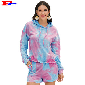 Women Tie Dye Hoodies 2 Pieces Workout Sets Private Label Wholesale Clothing
