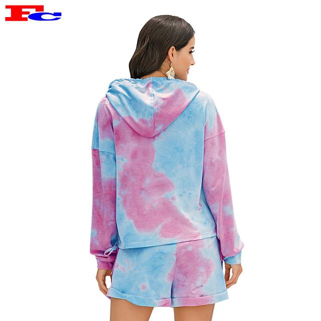 Frauen Tie Dye Hoodies 2 Stück Workout-Sets Private Label Großhandel Kleidung