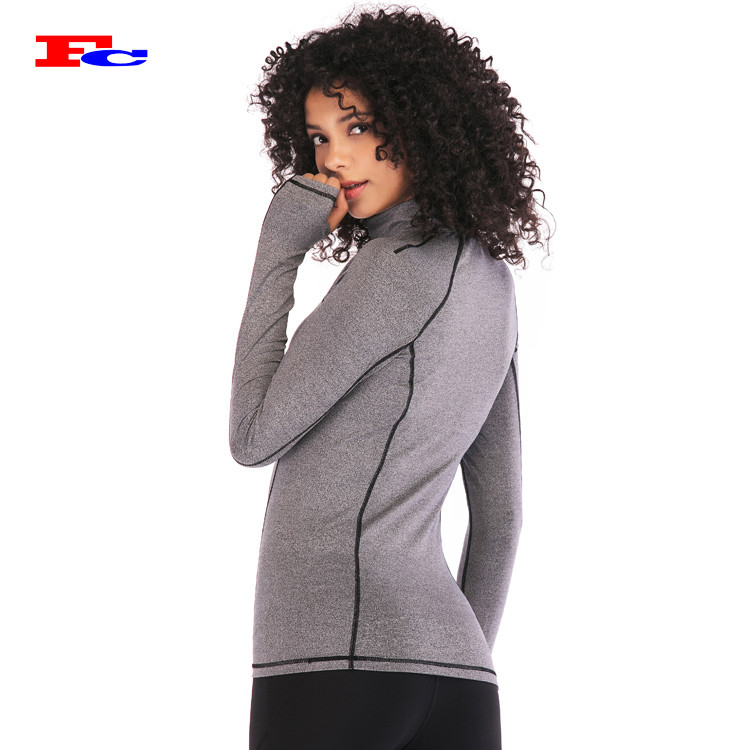 Women Half Zip Up Fitness Yoga Jacket Private Label Apparel Companies