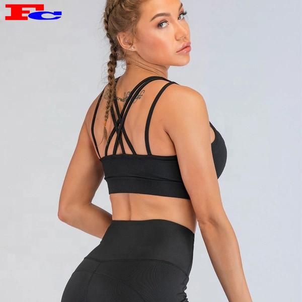Dongguan Fengcai Latest Custom Design Sports Bras  Ladies Hot Sexy Cross Strappy Push Up Bra