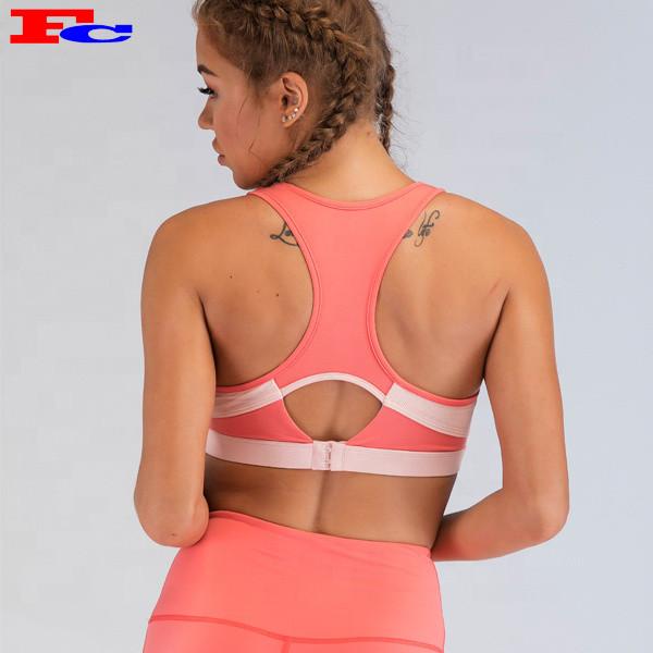 Fengcai New Design Pink Logo Sport-BH-Set mit Rückenschnalle
