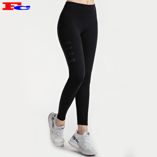 High Waisted Yoga Pants With Mesh Leggings Manufacturers