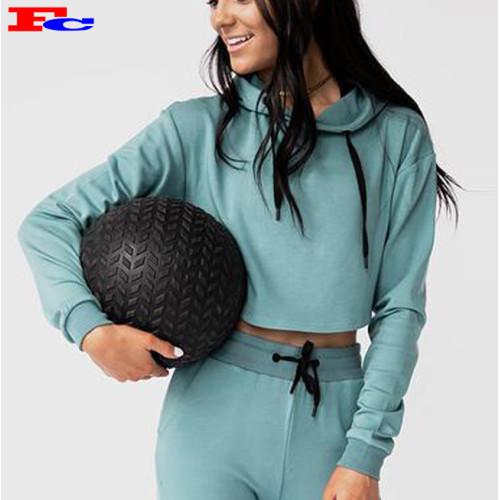 95 Cotton 5 Spandex Gym Women Oversized Slim Fit Long Sleeve Crop Top Hoodie Custom