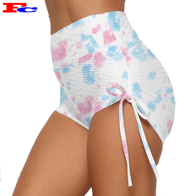 Custom Athletic Shorts Scrunch Butt Shorts High Waist Tie Dye Yoga Shorts