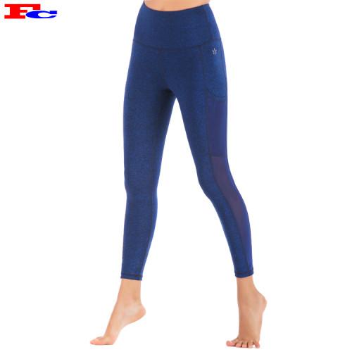 Dark Blue Side Mesh With Pocket Ladies Leggings Manufacturers