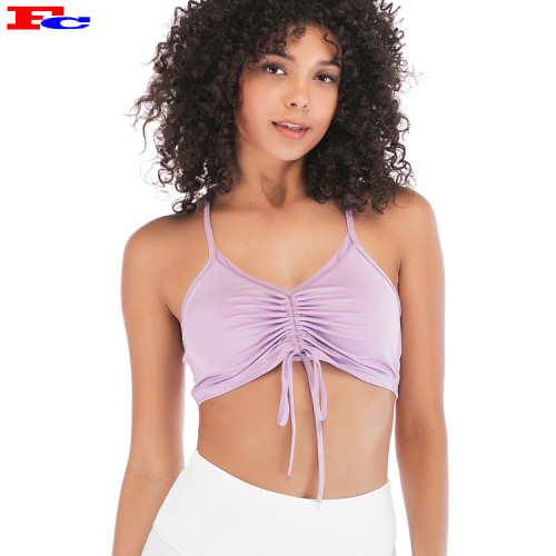 Pleated Drawstring Cute Fitness Workout Sports Ladies Bra