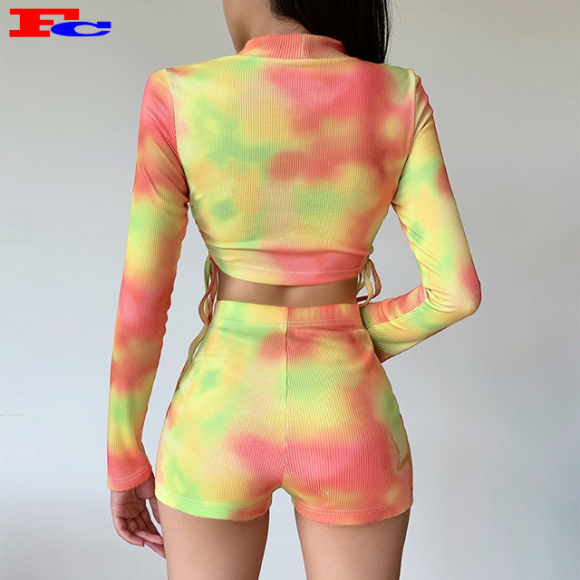 OEM Custom Tie Dye Shorts Set Gym Clothes For Women