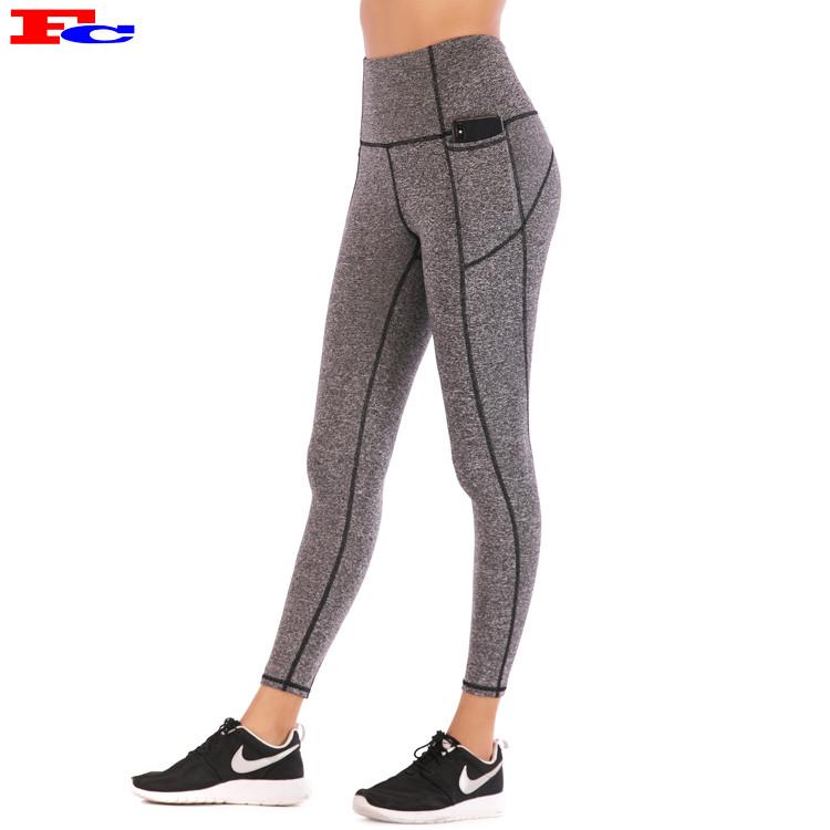 Fitness Pants Women's Tight Fitting High Waist Hip Lifting Running Plain Leggings Wholesale