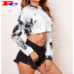 Wholesale High Quality Women Workout Gym  Tie Dye Crop Top Hoodies Bulk Sale