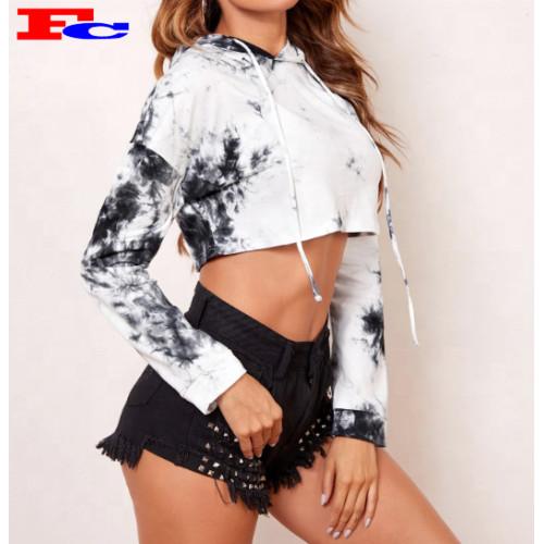 Wholesale High Quality Women Workout Gym  Tie Dye Crop Top Hoodies Bulk Sale