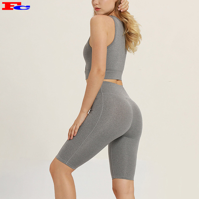 Sleeveless Solid Color Workout Shorts Sets Yoga Clothing Womens